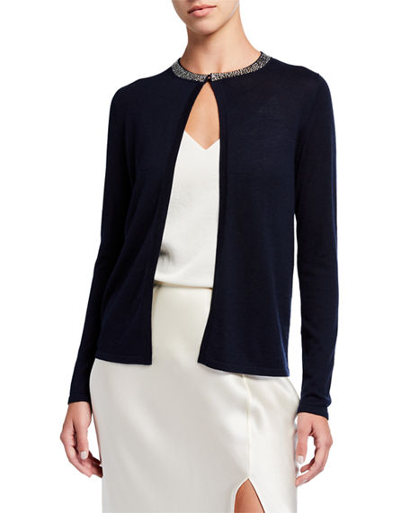 Image 2 of 4: Neiman Marcus Cashmere Collection Super Fine Crystal Trim Long-Sleeve Open Shrug