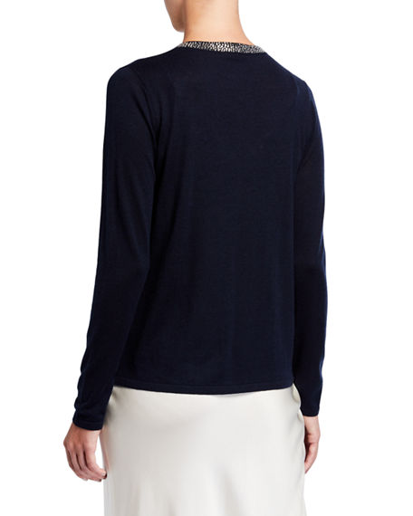 Image 3 of 4: Neiman Marcus Cashmere Collection Super Fine Crystal Trim Long-Sleeve Open Shrug