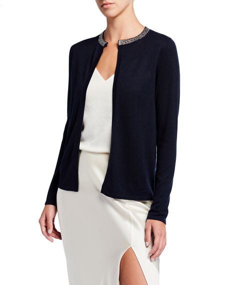 Image 1 of 4: Neiman Marcus Cashmere Collection Super Fine Crystal Trim Long-Sleeve Open Shrug