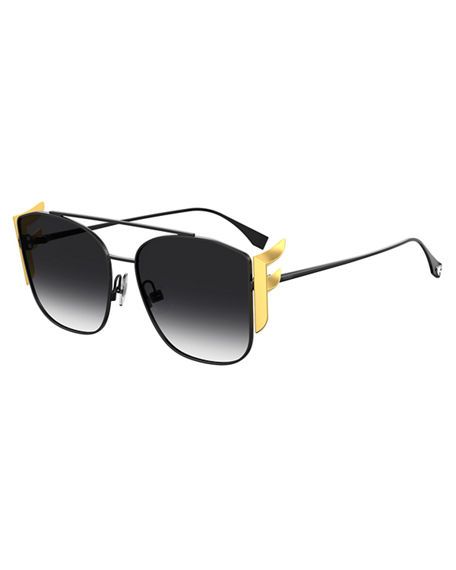 Fendi Square Aviator Sunglasses w/ Golden F Temples