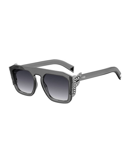 Fendi Square Optyl Sunglasses w/ Crystal F Temples