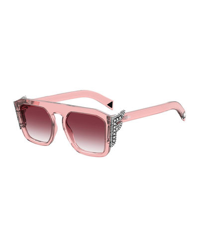 Square Optyl Sunglasses w/ Crystal F Temples
