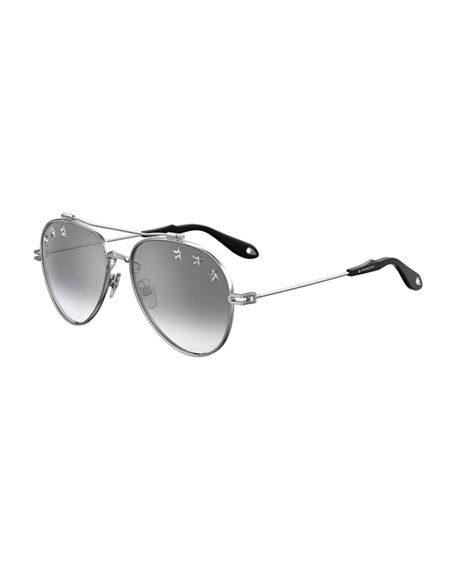 Givenchy Metal Aviator Sunglasses w/ Star Studs