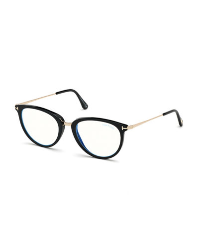 Blue Block Cat-Eye Acetate & Metal Optical Frames