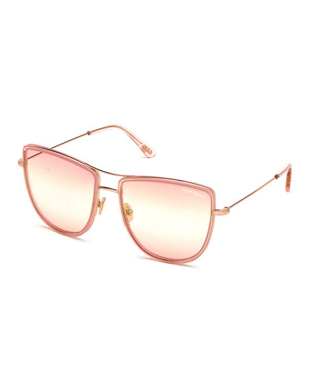 Image 1 of 3: TOM FORD Round Flattop Metal Sunglasses