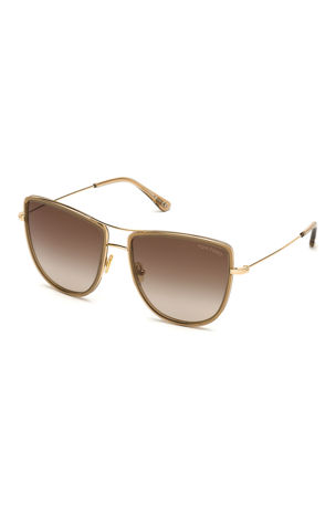 TOM FORD Round Flattop Metal Sunglasses