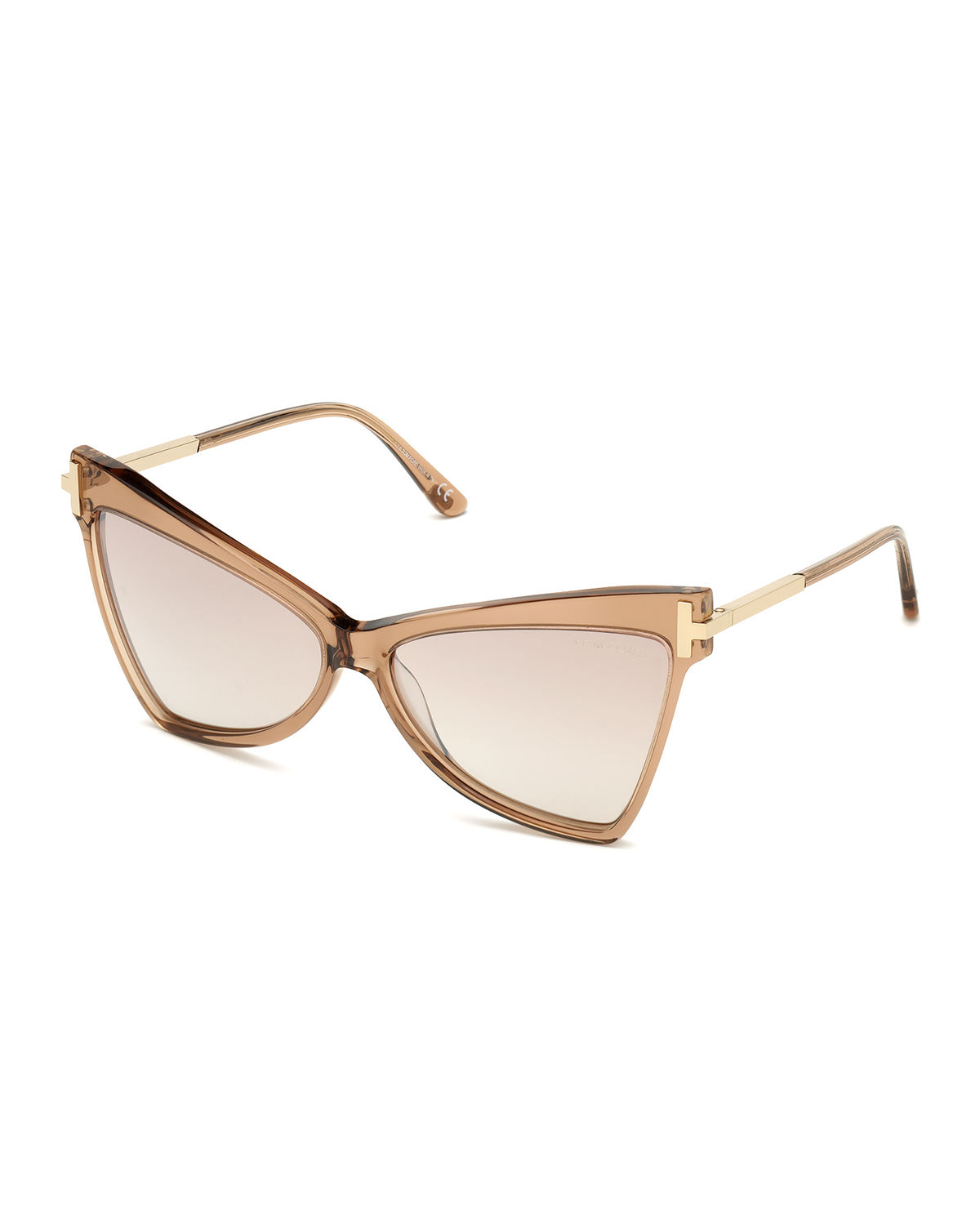 Tom Ford Tallulah Acetate Butterfly Sunglasses W/ Oversized T Temples In Beige
