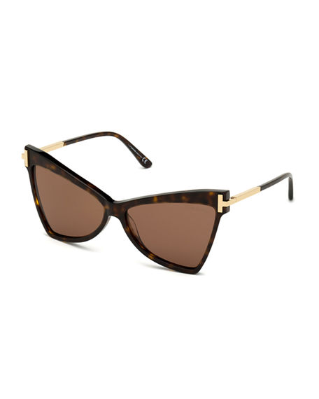 Tom Ford TALLULAH ACETATE BUTTERFLY SUNGLASSES W/ OVERSIZED T TEMPLES