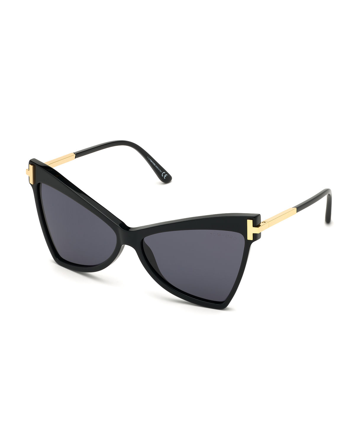 Tom Ford Tallulah Acetate Butterfly Sunglasses W/ Oversized T Temples In Black/Smoke