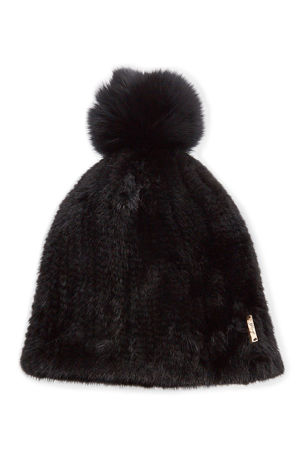 Gorski Knit Mink Fur Beanie Hat w/ Fox Fur Pompom