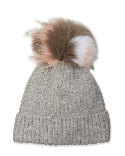 Knit Beanie Hat w/ Fox Fur Pompom