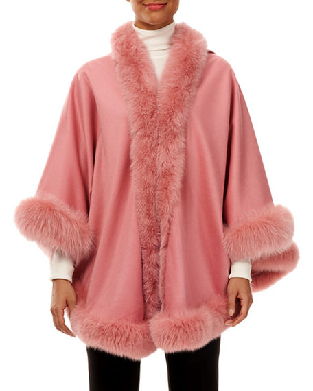 Gorski Cashmere Capelet with Shadow Fox-Fur Trim
