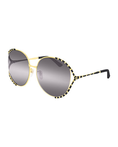 Round Metal Colorblock Sunglasses