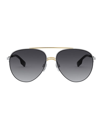 Burberry Steel Aviator Sunglasses