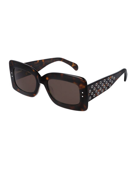 ALAIA Rectangle Grommet Acetate Sunglasses