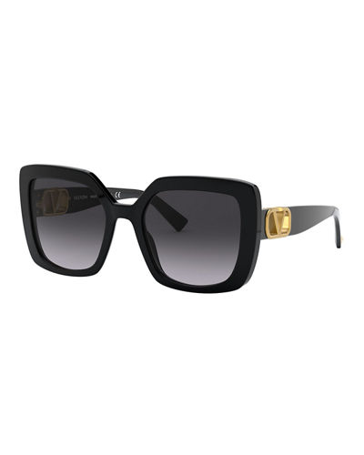 Square Acetate Sunglasses w/ V Hardware