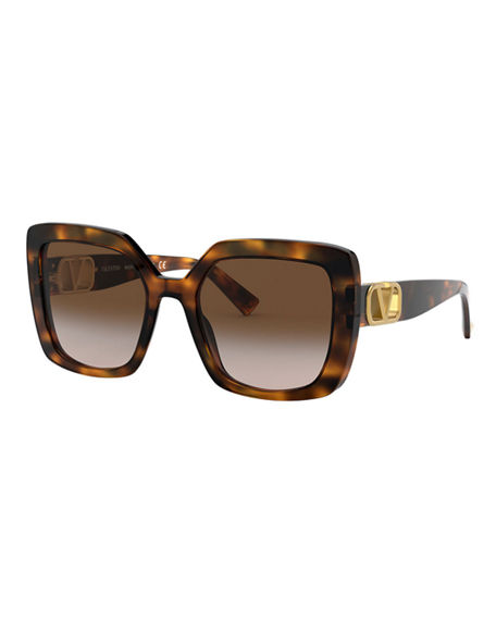 Valentino Square Acetate Sunglasses w/ V Hardware