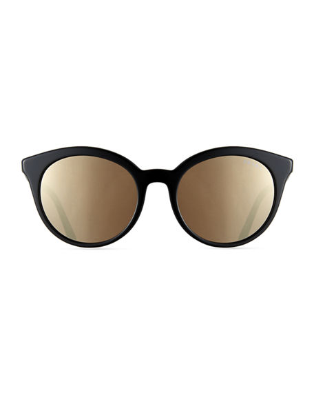 Image 2 of 3: Prada Round Acetate Sunglasses