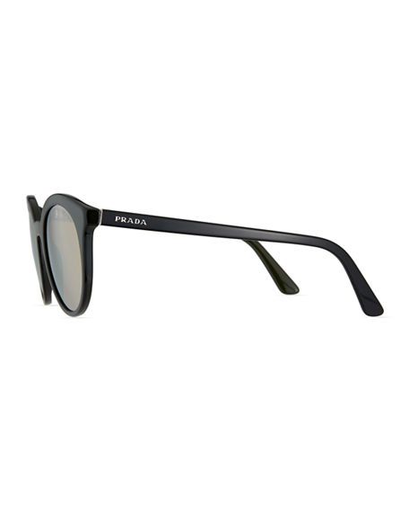 Image 3 of 3: Prada Round Acetate Sunglasses