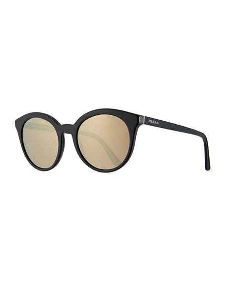 Image 1 of 3: Prada Round Acetate Sunglasses