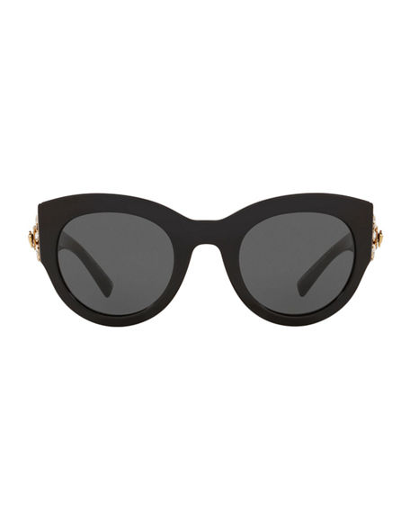 Image 2 of 3: Versace Chunky Cat-Eye Sunglasses w/ Crystal Embellished Temples