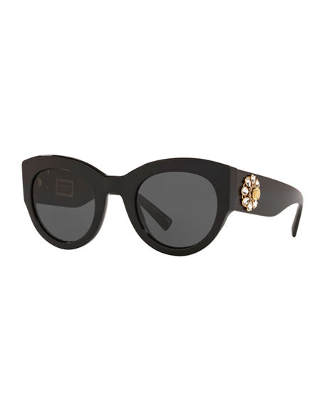 Image 1 of 3: Versace Chunky Cat-Eye Sunglasses w/ Crystal Embellished Temples