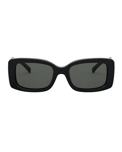 Versace Rectangle Acetate Sunglasses w/ Oversized Logo Temples