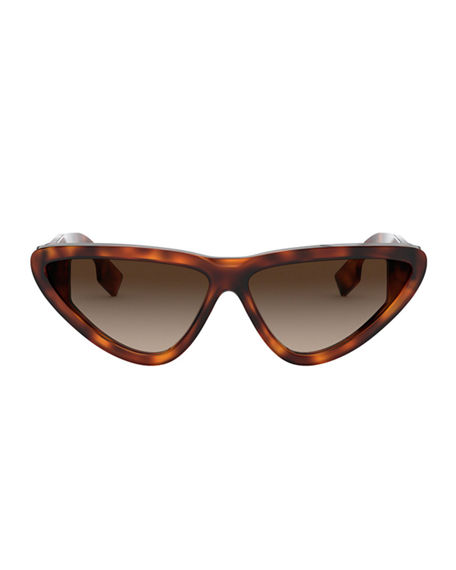 Image 2 of 3: Burberry Check Cat-Eye Acetate Sunglasses