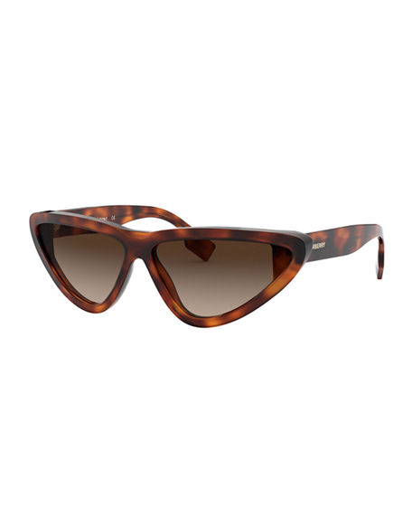 Image 1 of 3: Burberry Check Cat-Eye Acetate Sunglasses