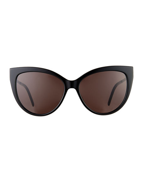 Image 2 of 3: Saint Laurent Cat-Eye Acetate & Metal Sunglasses