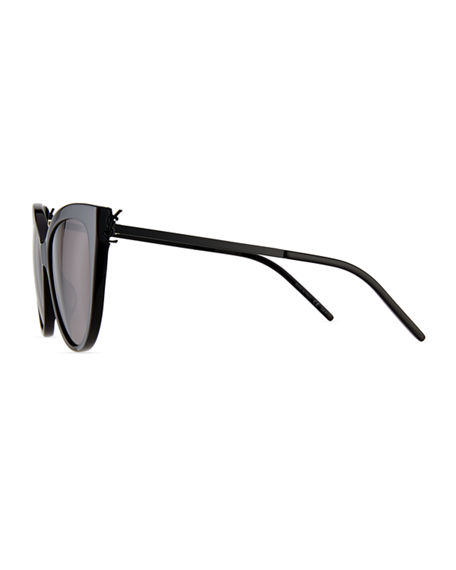 Image 3 of 3: Saint Laurent Cat-Eye Acetate & Metal Sunglasses