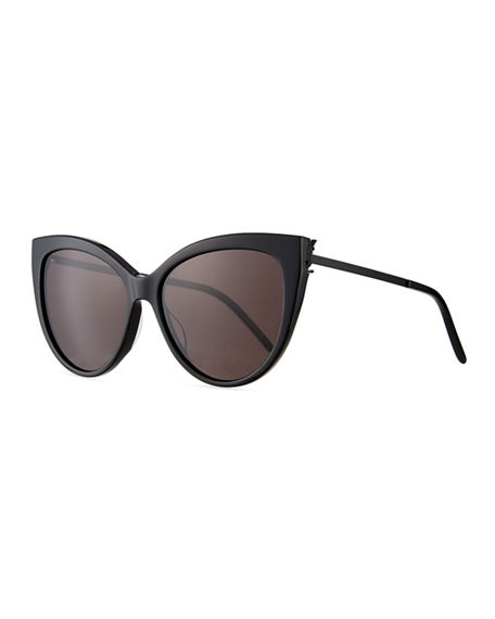 Image 1 of 3: Saint Laurent Cat-Eye Acetate & Metal Sunglasses