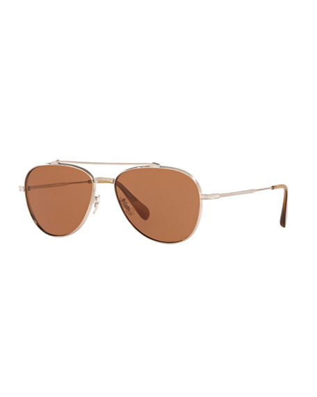 Oliver Peoples Rikson Titanium Aviator Sunglasses