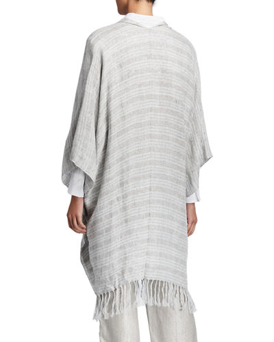 Brunello Cucinelli Fringed Metallic-Striped Linen Poncho