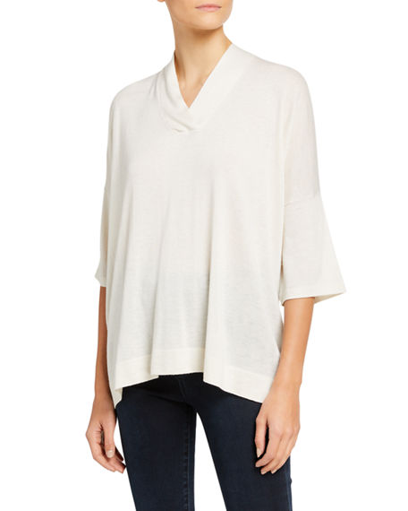 Neiman Marcus Cashmere Collection Superfine V-Neck 3/4-Sleeve Poncho