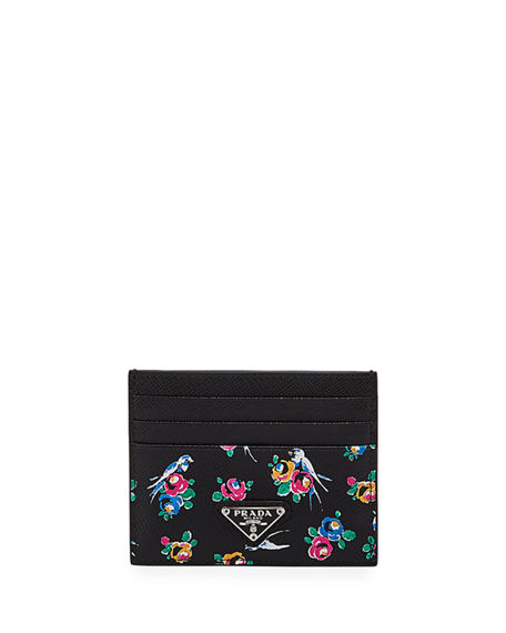 Prada Floral-Print Leather Card Case