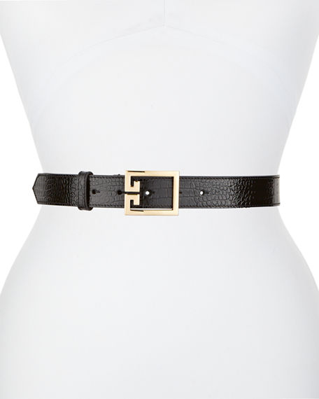 Givenchy Double-G Logo Buckle Leather Belt