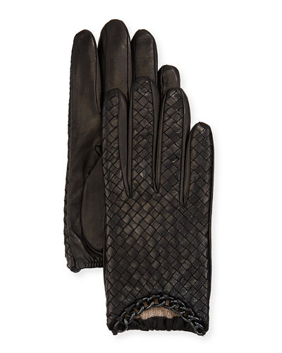 Extemely Soft NEW MENS EXTRA LONG BLACK SILK LINED LAMBSKIN LEATHER GLOVES