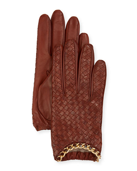 Portolano Woven Leather Cashmere-Lined Gloves