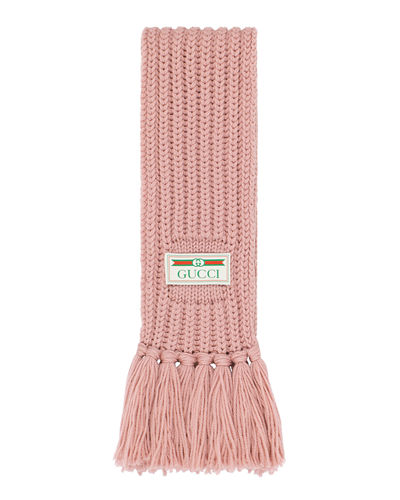 Gucci Long Merino Wool Fringe Scarf