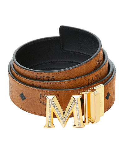 Reversible Visetos Leather Belt w/ 3D 24K Gold M Buckle