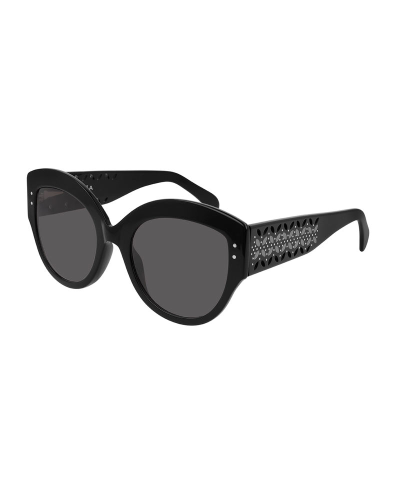 ALAIA Round Acetate Sunglasses w/ Perforated Arms