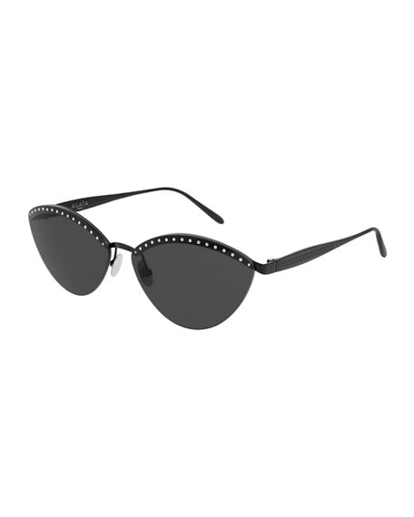 ALAIA Rimless Studded Metal Cat-Eye Sunglasses