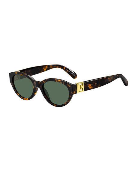 Givenchy Oval Acetate Sunglasses w/ Metal Logo Hinges