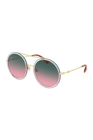Gucci Crystal Acetate & Metal Round Sunglasses