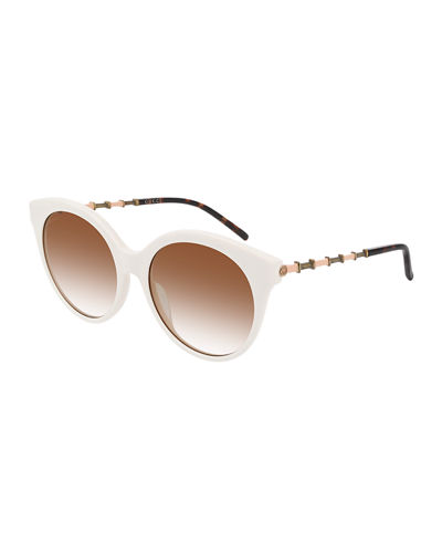 Round Acetate Bamboo Effect Arms Sunglasses