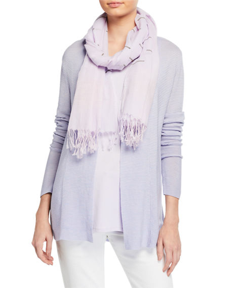 Eileen Fisher Hand-Loomed Organic Cotton Ikat Borders Scarf