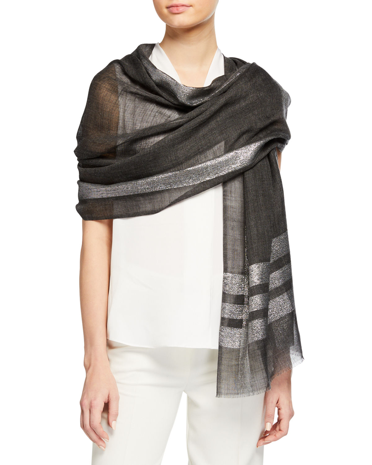 Bindya  LUREX COLORBLOCK WOOL-BLEND STOLE