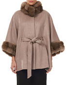 Gorski Cashmere Belted Cape w/ Sable Collar and