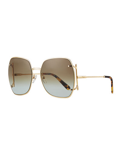 Square Gancio Metal Sunglasses